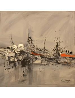 tableau abstrait contemporain gris orange