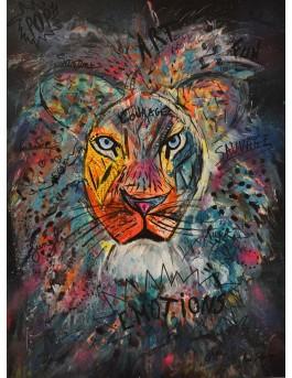 Le courage du lion - tableau abstrait lion moderne