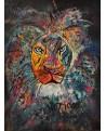 tableau abstrait lion moderne