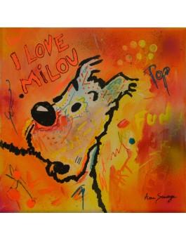 Love Milou - tableau chien pop art