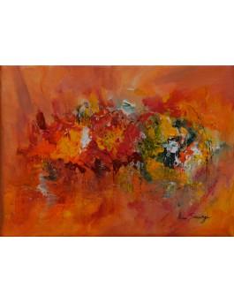 En pleine expansion - tableau abstrait orange
