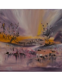tableau abstrait violet arbres