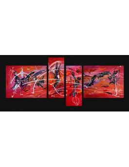 """Quadriptyque """"les fées de l'art"""" - grand tableau rouge"""