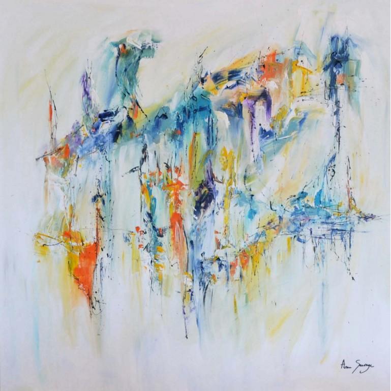 grand tableau abstrait coloré sur fond blanc