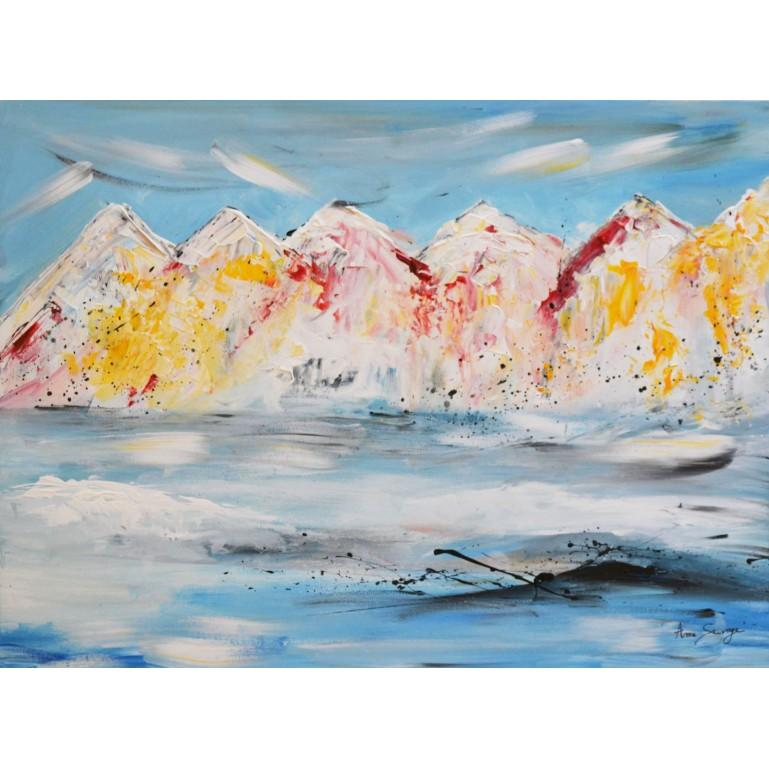 peinture abstraite montagnes colorées sur plaque de bois