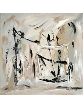 Haut perché - tableau abstrait gris et blanc