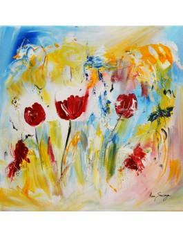 L'effet des fleurs - tableau abstrait fleurs rouges