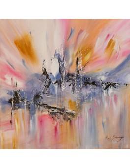 tableau abstrait rose bleu ocre