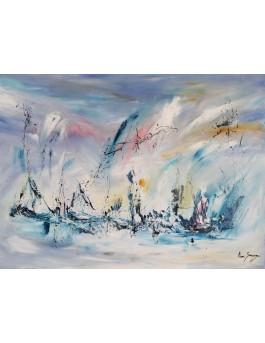 Dieux des mers - tableau abstrait moderne bleu