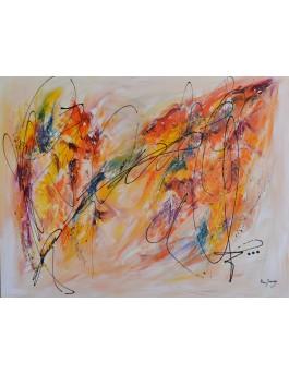 grand tableau abstrait couleurs chaudes