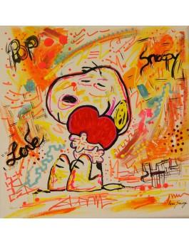 tableau peinture Snoopy coeur rouge