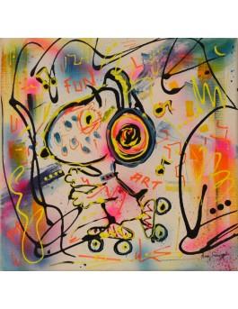 tableau peinture Snoopy patins à roulettes