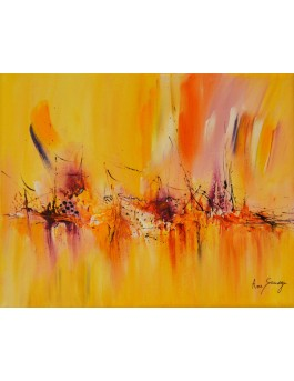 tableau abstrait jaune orange rose