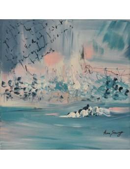 tableau abstrait bleu rose pastel