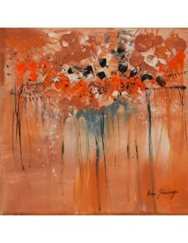 tableau abstrait orange petit format