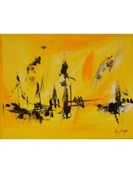 tableau abstrait jaune noir blanc