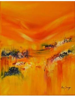 tableau abstrait jaune orange vertical