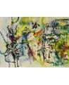 tableau abstrait contemporain avec des mots