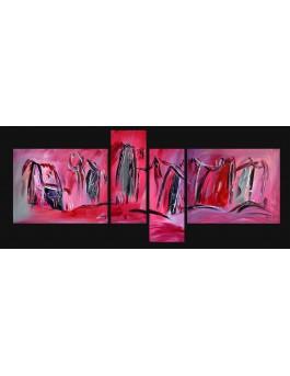 """Quadriptyque """"vers l'horizon"""" - tableau rose rouge"""