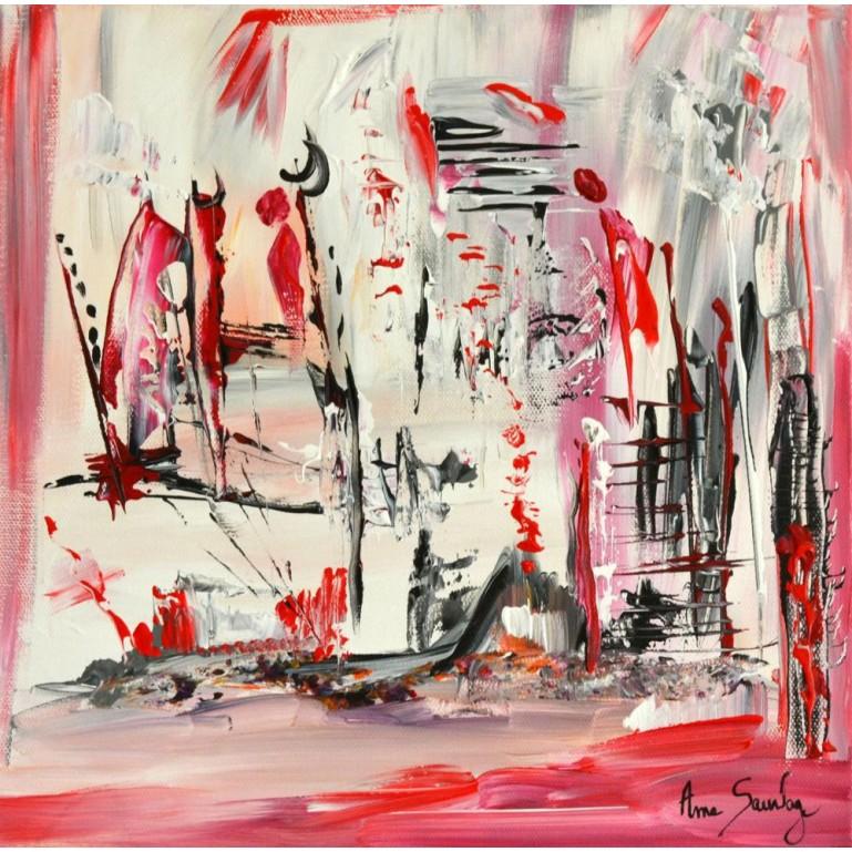 Tableau abstrait rouge Nuit de feu