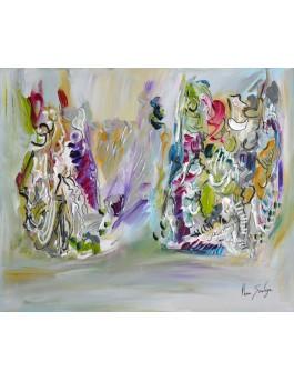 Danses enlacées - peinture abstraite au couteau