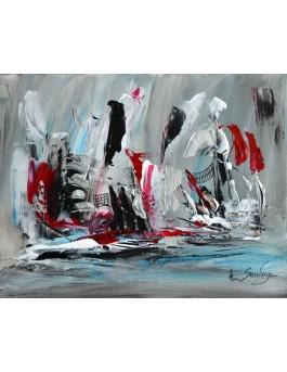 Plaisirs du goût - tableau abstrait gris noir blanc rouge