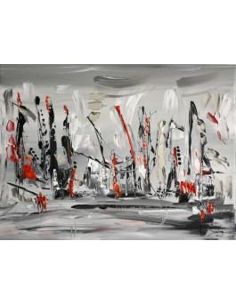 La parade - tableau gris noir blanc rouge