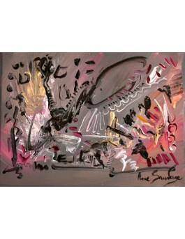 Crash époustouflant, tableau gris fushia
