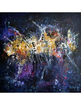 tableau contemporain noir flashy design