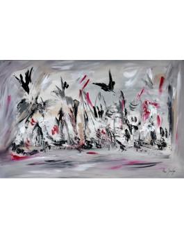 Envol pour un beau voyage - tableau abstrait gris noir blanc rouge