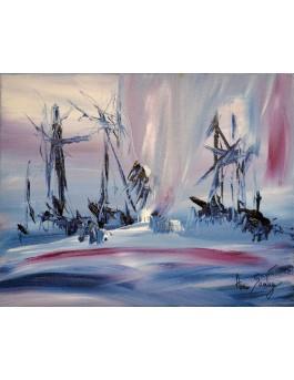 tableau abstrait violet blanc