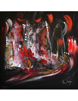 tableau abstrait rouge noir blanc