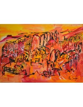 A flanc de montagne - tableau abstrait orange rouge