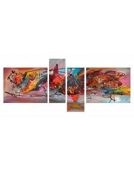 tableau quadriptyque multicolore