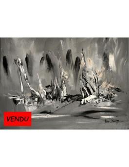 Sculpture de glace - tableau abstrait noir et blanc