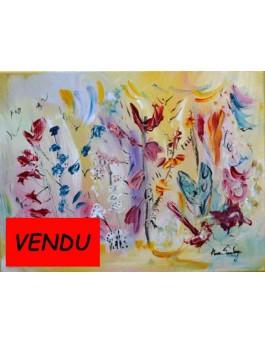 Tableau artiste peintre-L'oiseau et le papillon bleu
