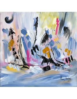 Paradisiaque - tableau abstrait blanc et coloré