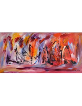 Le port paisible - tableau panoramique rouge