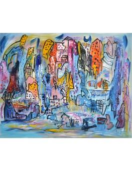 la ville en fête - grand tableau abstrait bleu
