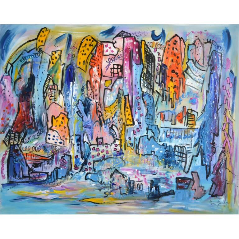 la ville en fête - tableau abstrait bleu