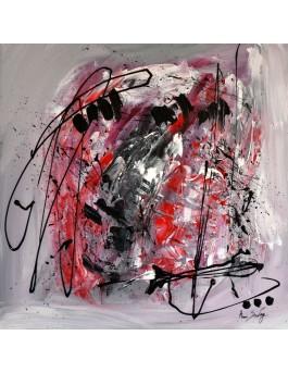 Tornade - tableau abstrait gris noir blanc rouge