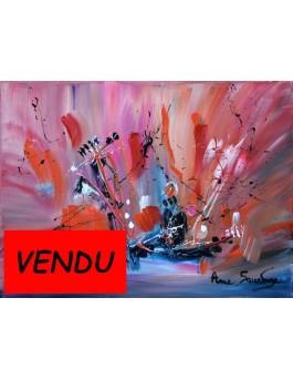 tableau abstrait contemporain rouge Au coeur de la nature