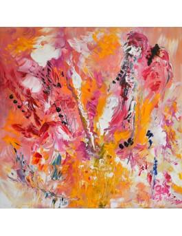 Fraises et chantilly - tableau abstrait rose et jaune