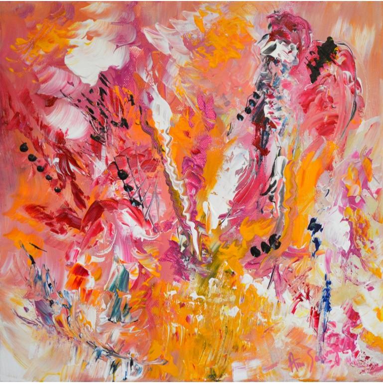 Fraises et chantilly - tableau abstrait rose
