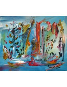 tableau bleu contemporain abstrait Aqua city