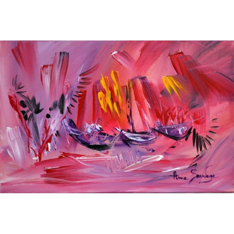 tableau contemporain rouge bateaux Three purple boats