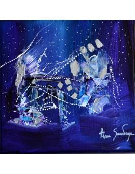 tableau abstrait violet bleu argent