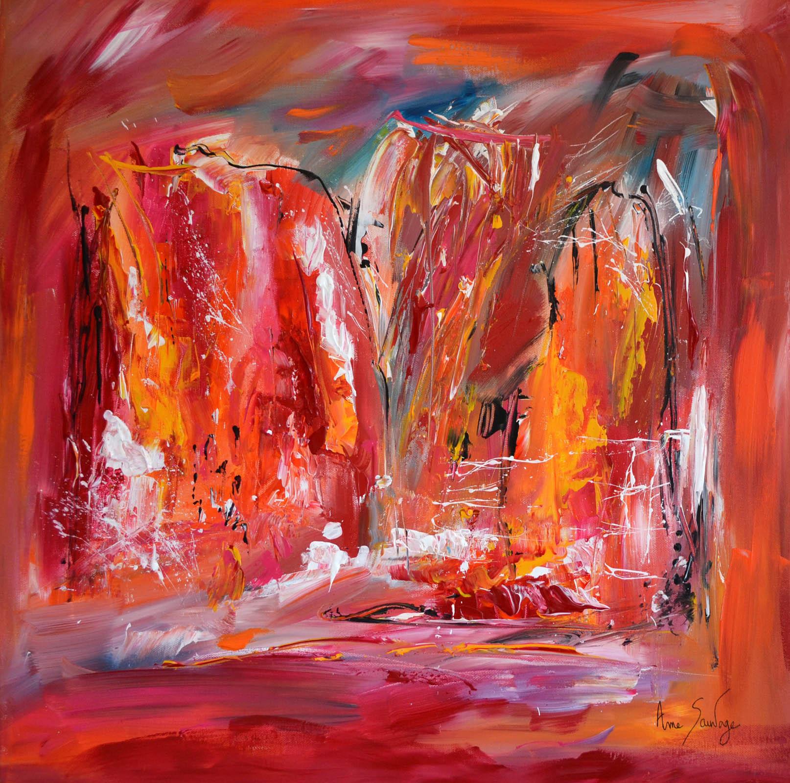 tableau abstrait contemporain rouge orange moderne. Black Bedroom Furniture Sets. Home Design Ideas