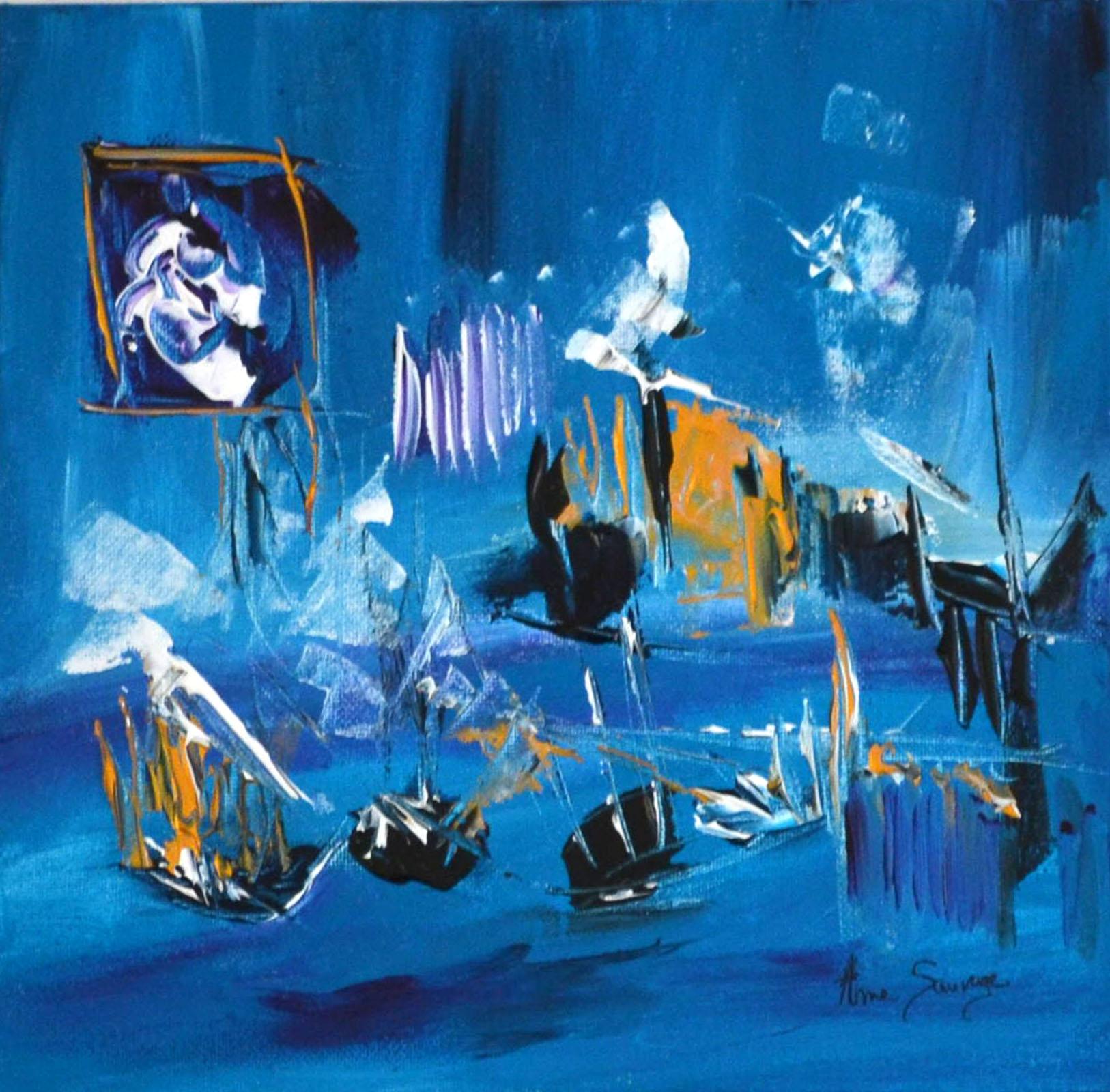peinture abstraite bleu turquoise