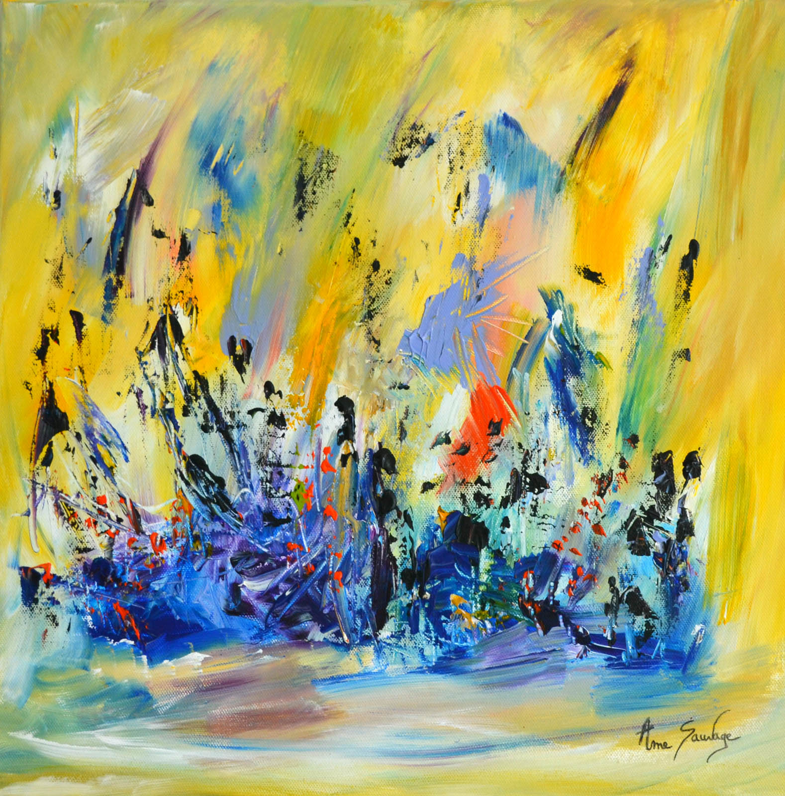 tableau jaune abstrait